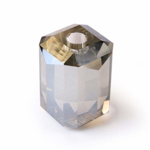 Bougeoir En Verre Cristal Diamant Gris