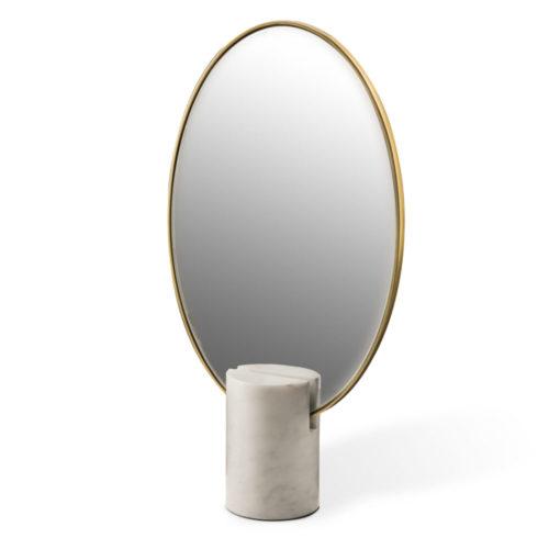 Miroir Oval en Marbre Blanc